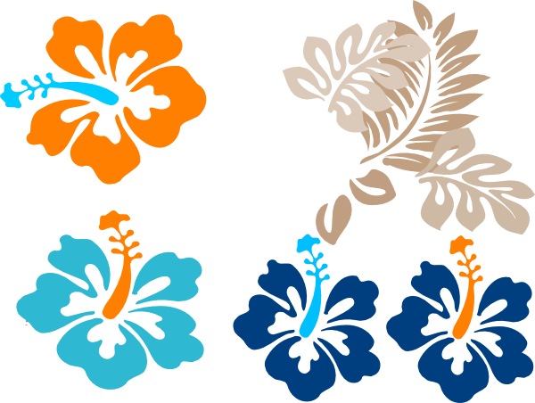 Blue tropical flowers png. Clip art at clker