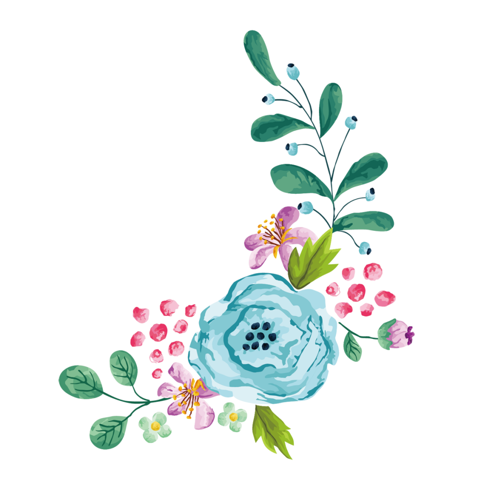 Watercolor flower png. Blue peoplepng com