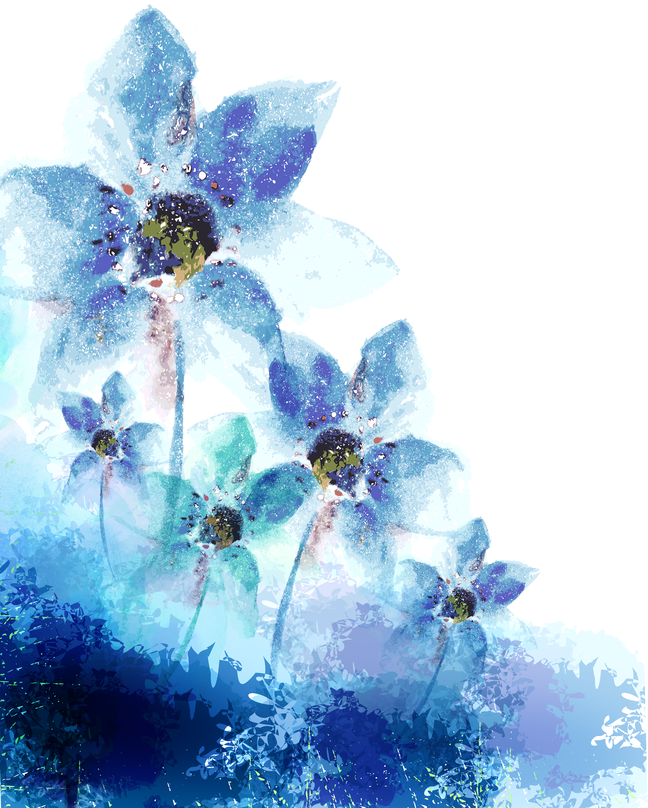 Blue watercolor flower png. Ink adobe illustrator flowers