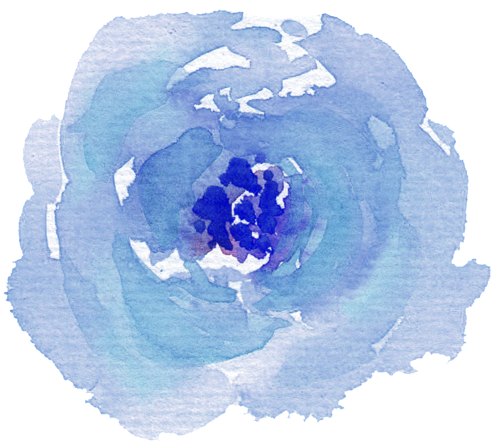 Blue watercolor flower png. Download hand painted purple