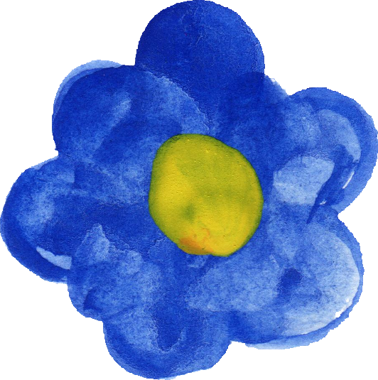 blue watercolor flower png