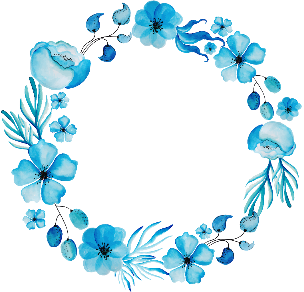 Blue watercolor png. Wreath ink paint round