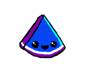 Blue watermelon. With a smiling face