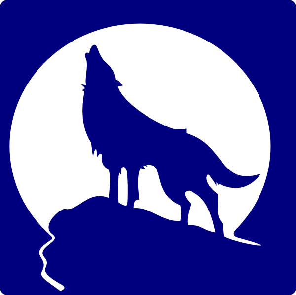 Blue wolf png. Silhouette to the moon