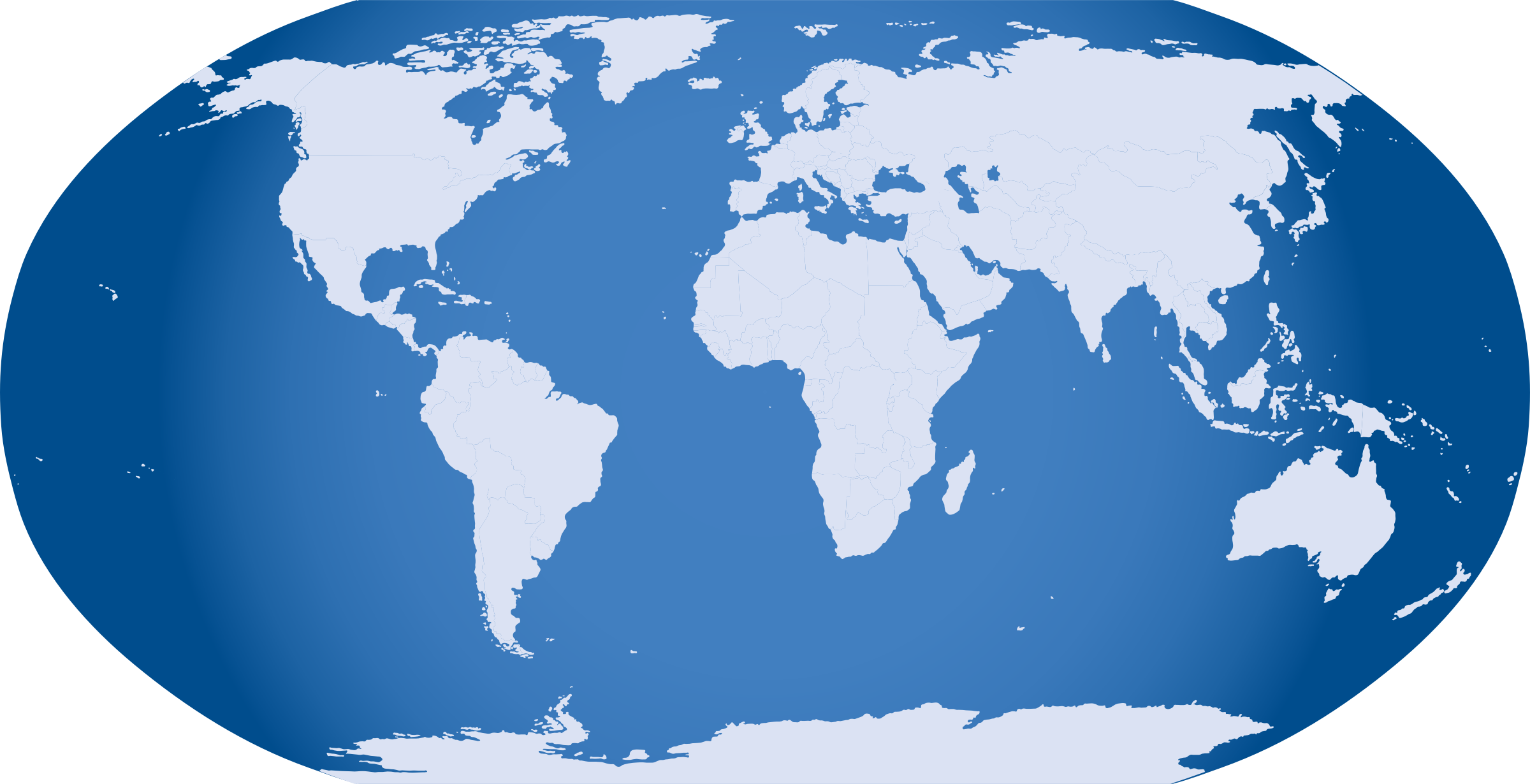 Png on world map. Blue icons free and
