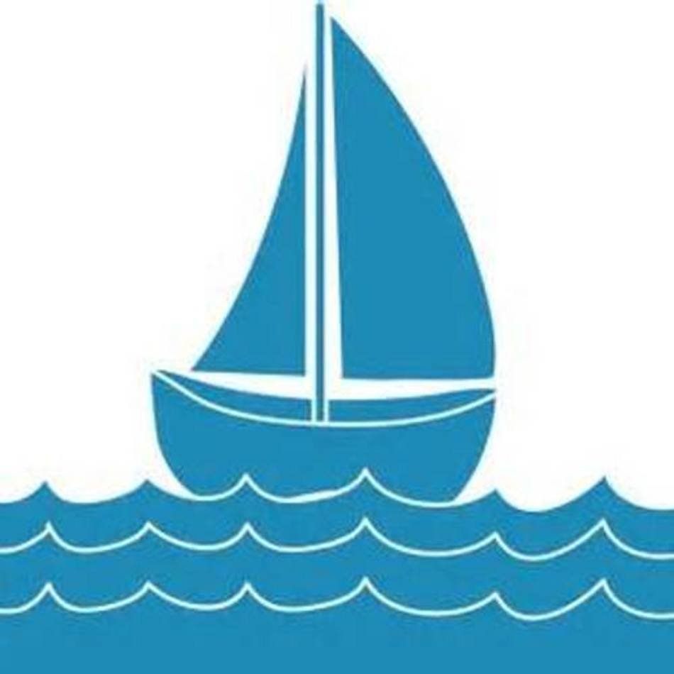 Blue yacht. On the waves clipart
