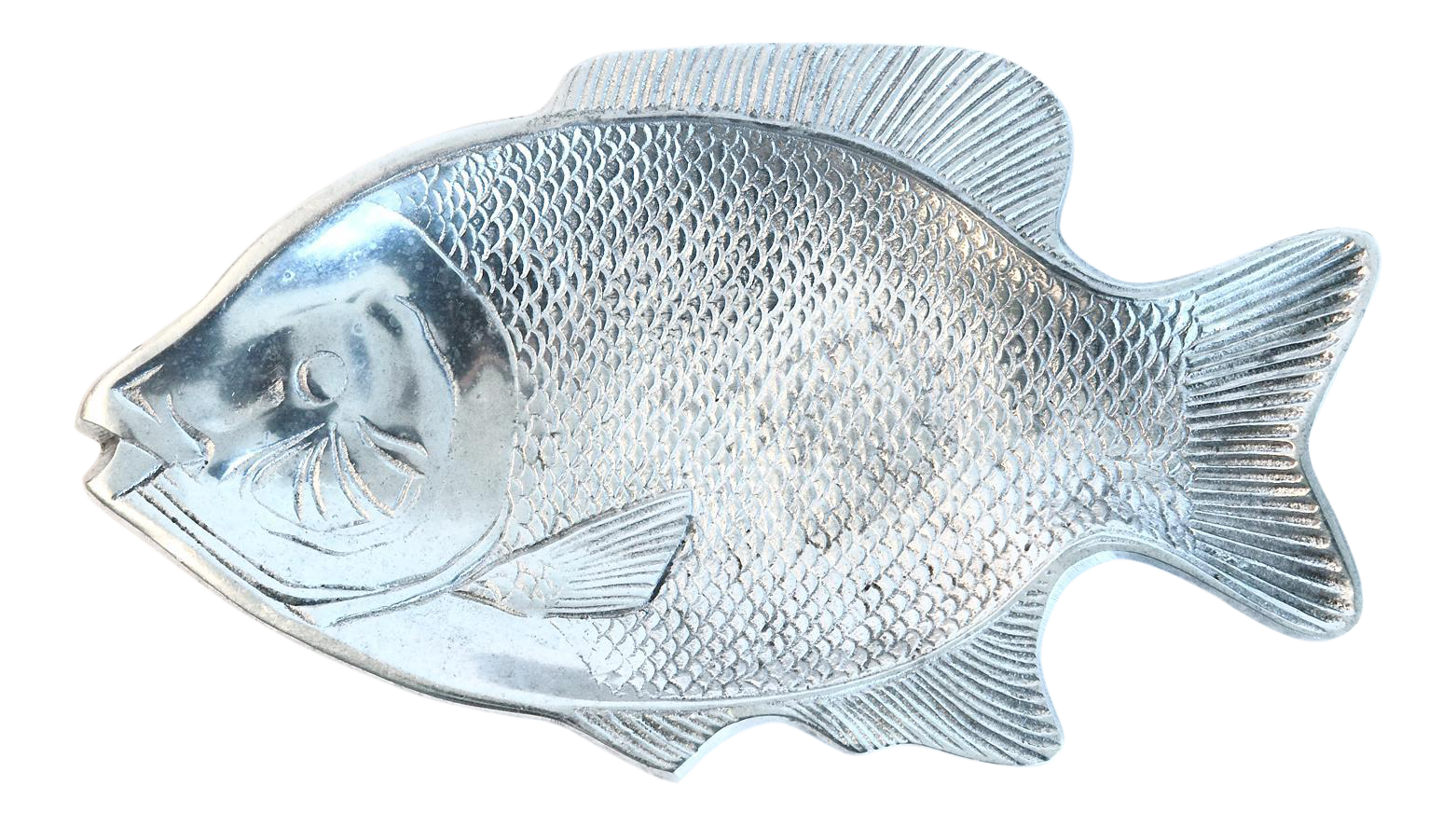 Bluegill drawing simple. Silver aluminum fish platter
