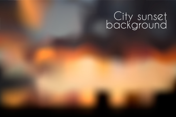 Blurred sunset background. Evening cityscape vector