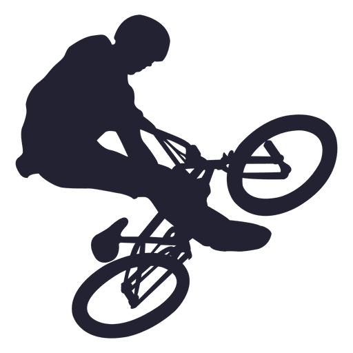 Bmx bicycle stunt silhouette. Vector stunts picture free library