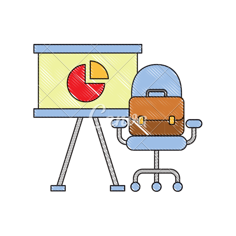 Board clipart presentation board. Office chair and briefcase
