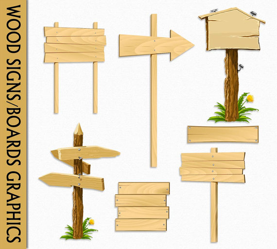 Wooden clipart sign board. Wood signs clip art