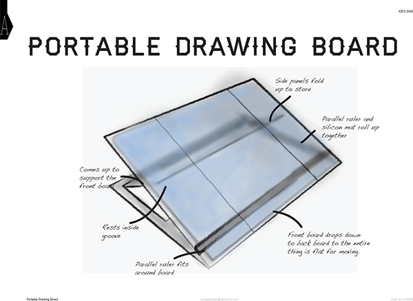 Board drawing flat. Portable drafting table on