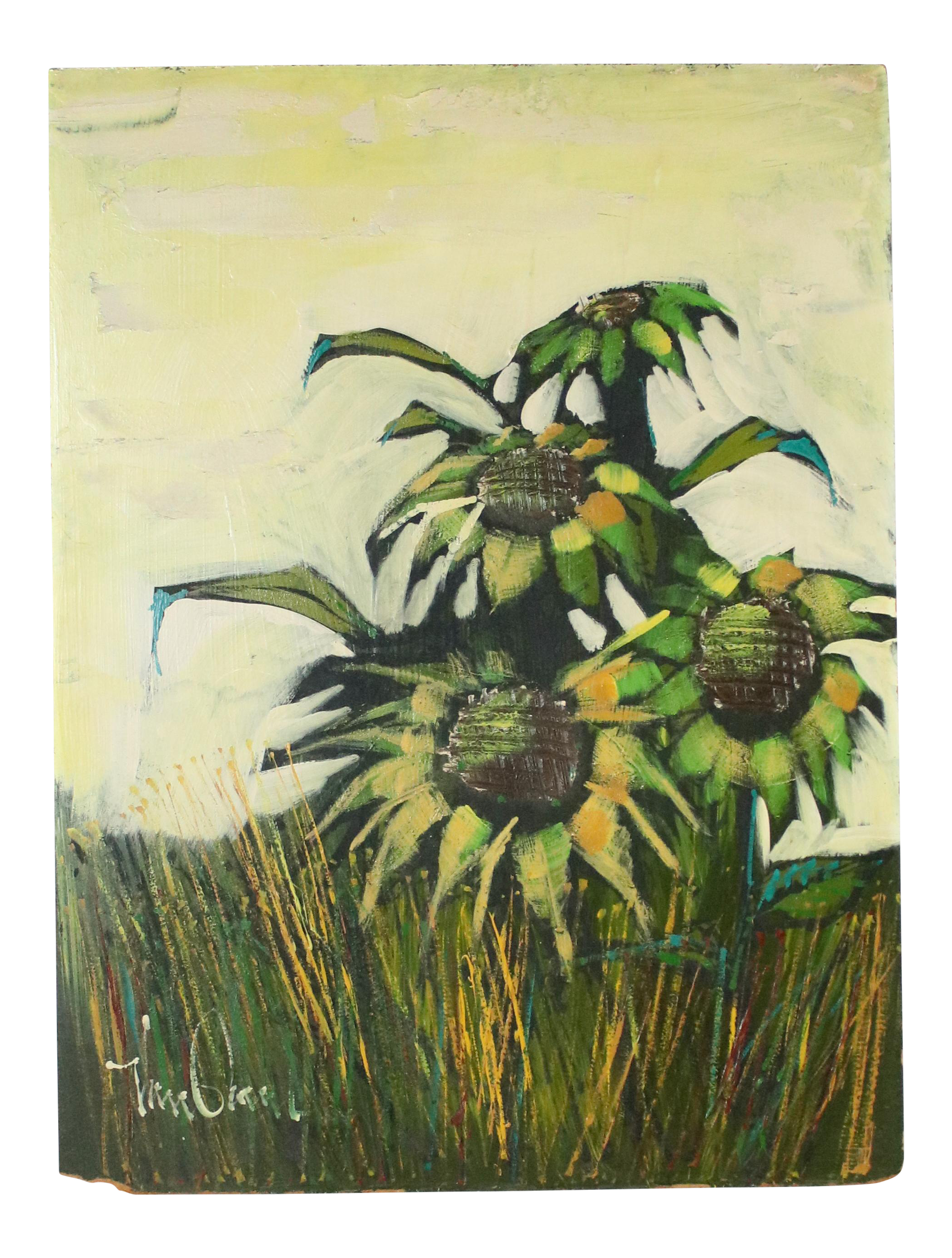 Board drawing modern. Mid century original sunflowers