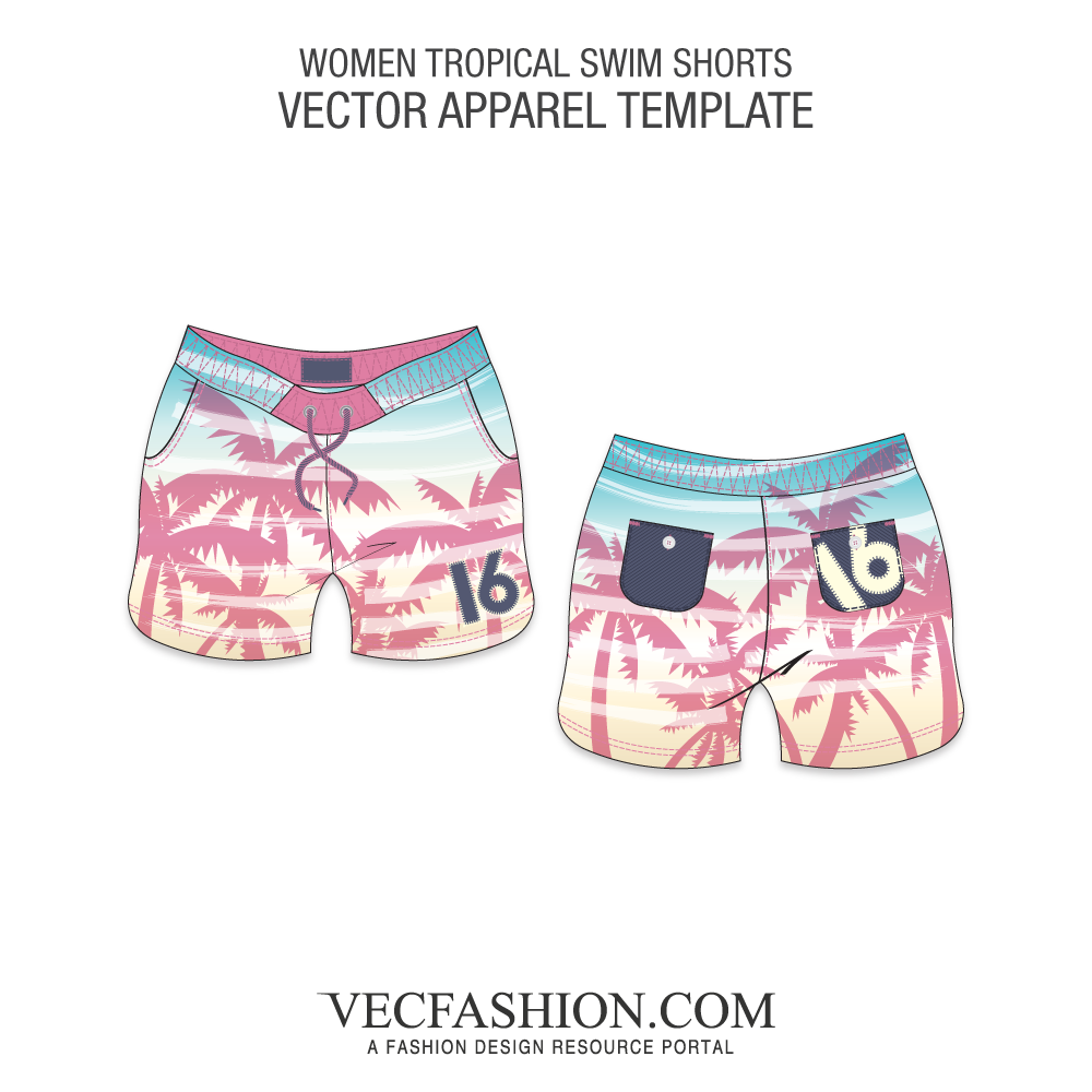 Vector sketches beach. Swimwear tagged vecfashion tropical