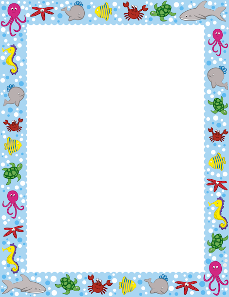 An ocean themed page. Boarder clipart sea jpg library