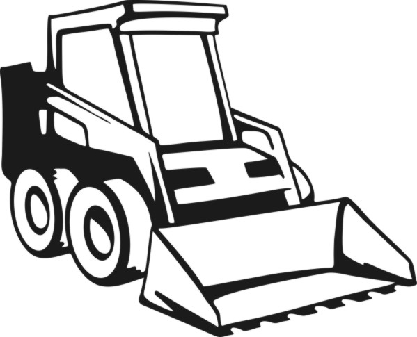 Bobcat clipart lineart. Construction equipment silhouette at