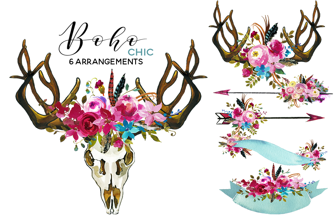Boho clipart. Chic pink watercolor flowers
