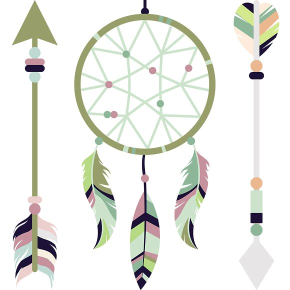 Boho clipart arrow. Bohemian ethnic set illustrations