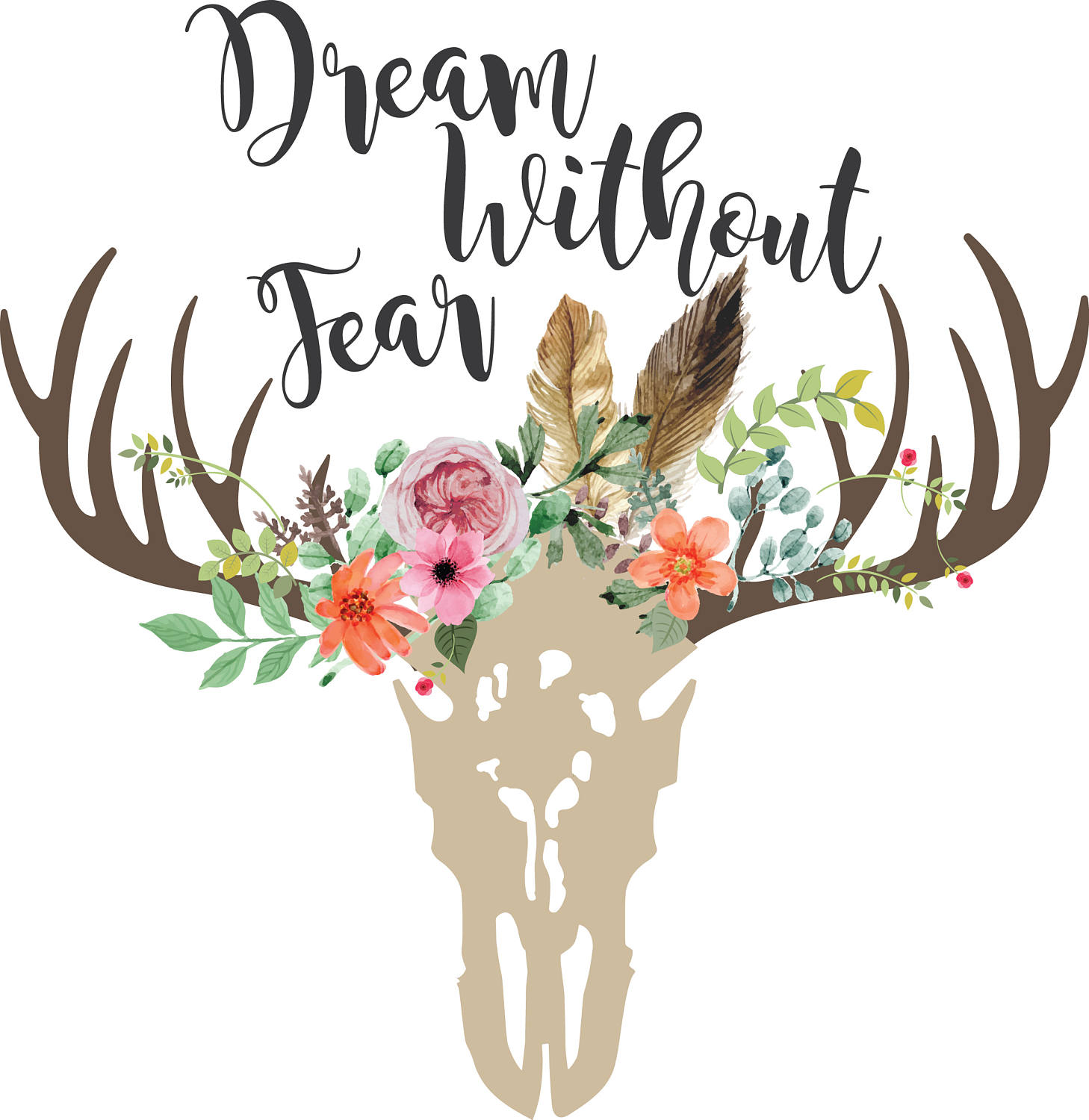 Boho clipart cow skull. Dream without fear svg