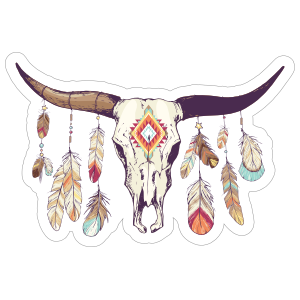 Boho clipart horse. Skull with feathers sticker