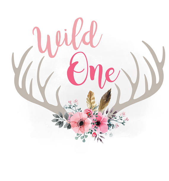 Boho clipart wild one. Svg floral antlers feathers