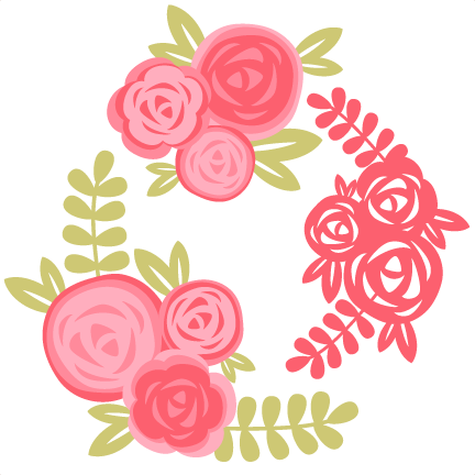 Frames svg floral. Rose set cutting file