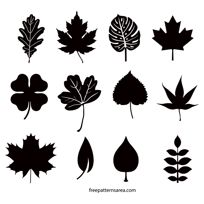 Boho vector leaf. Silhouette vectors and cut