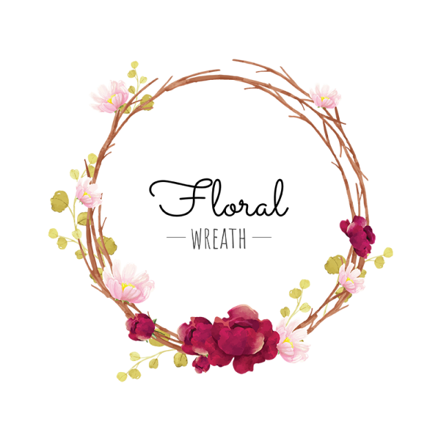 Boho vector wreath. Flower red png and