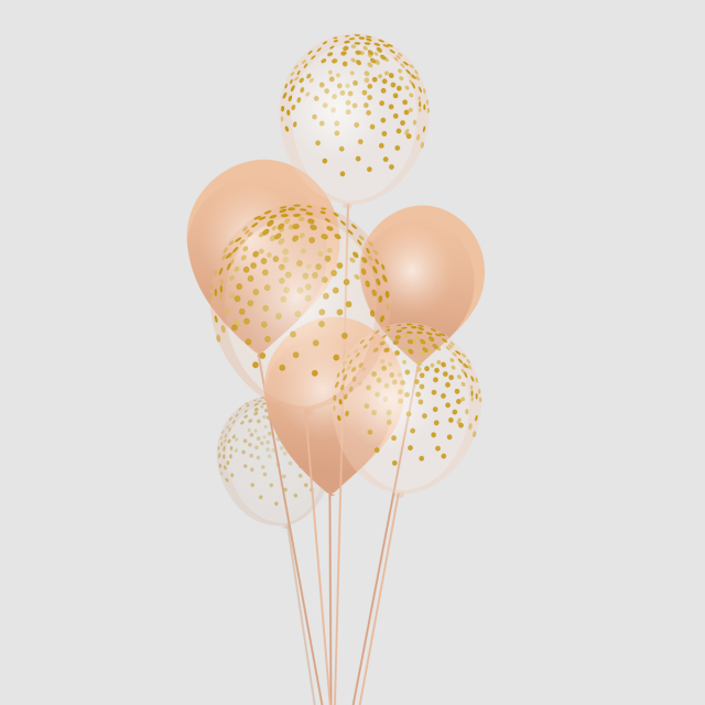 Bokeh vector rose gold. Png balloons and gift