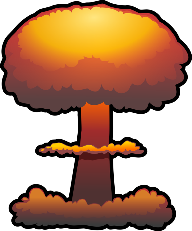 Nuclear drawing bomb exploding. Weapon explosion power free