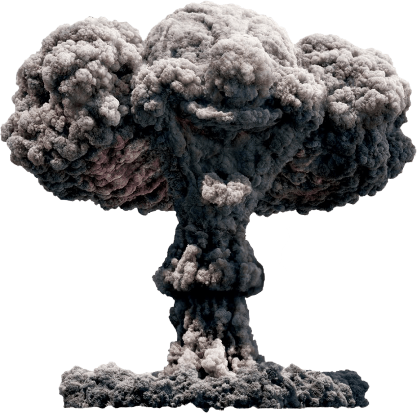 Transparent explosions mushroom cloud. Big explosion with fire