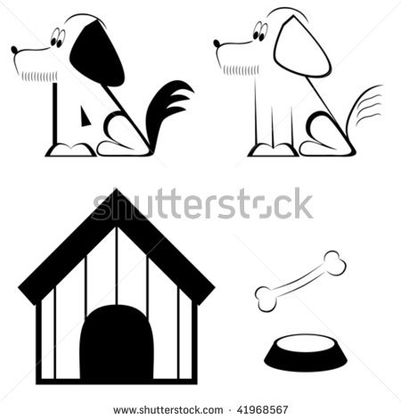Different happy dogs panda. Bone clipart two graphic free