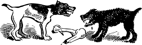Fights clip. Dogs fight over bone
