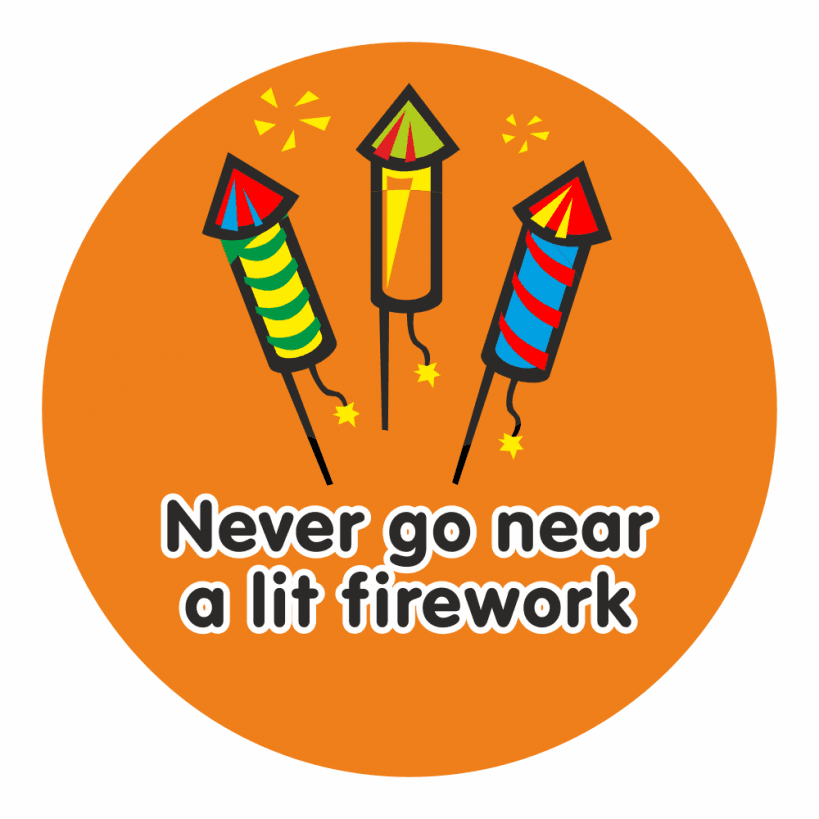 Bonfire clipart firework. Night safety stickers