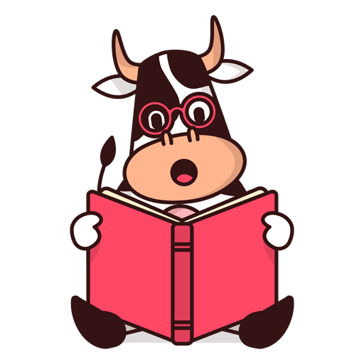 Book cartoon png. Cow reading transparent svg