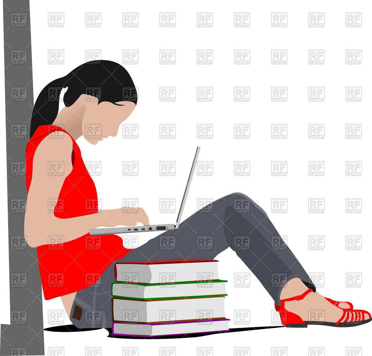 Woman clipart laptop. Sitting with and stack png black and white