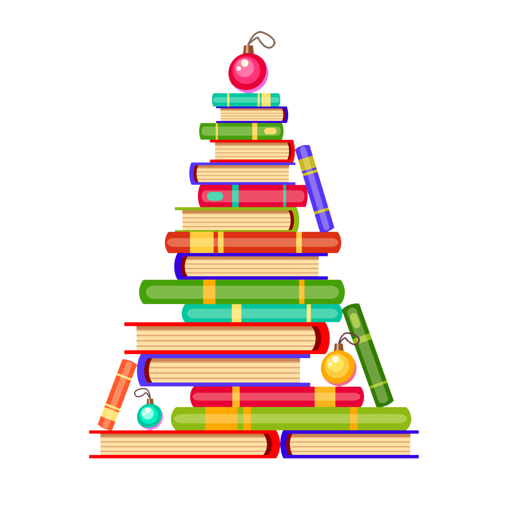 Book clipart tree. Christmas books png vector