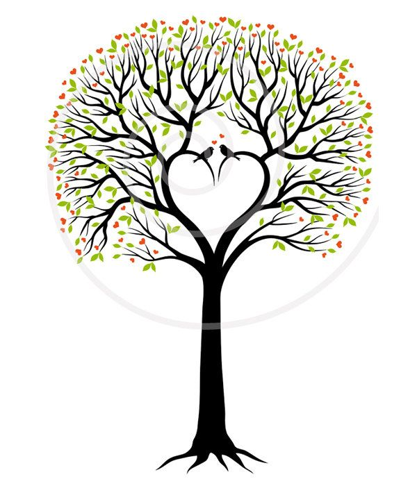 Book clipart tree. Heart wedding digital invitation