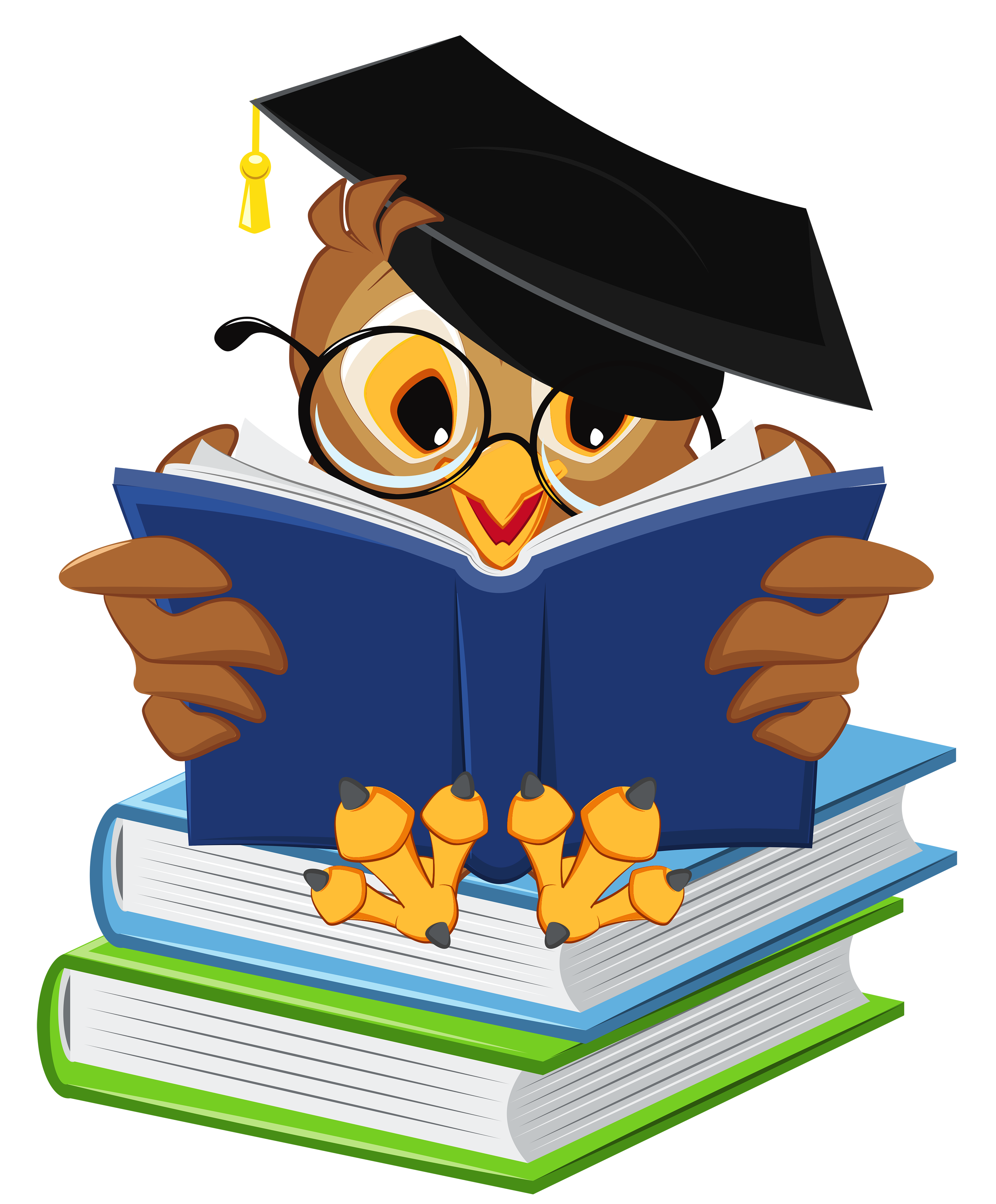 Book spine cartoon png. Owl with school books