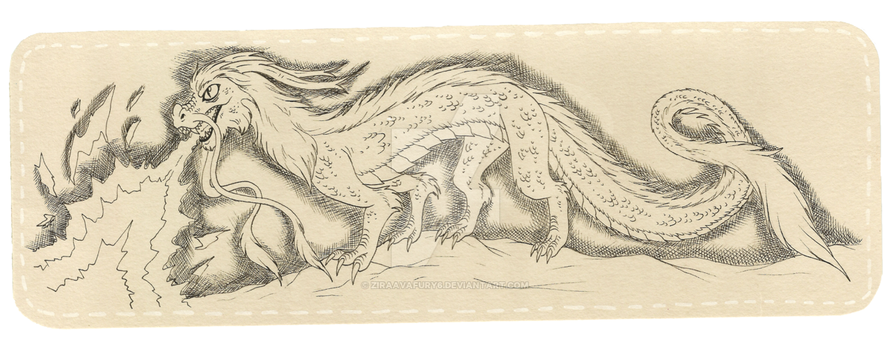 Bookmark drawing. Chineese dragon by avafury