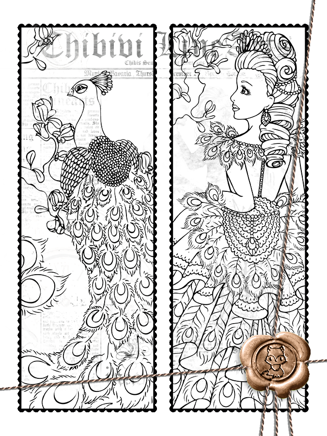Bookmark drawing. Peacock by chibivi linearts