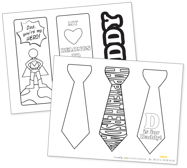 Bookmark drawing. Printable father s day
