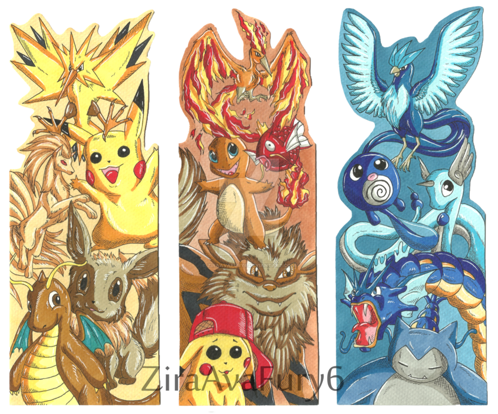 Bookmark drawing character. Pokemon bookmarks by avafury