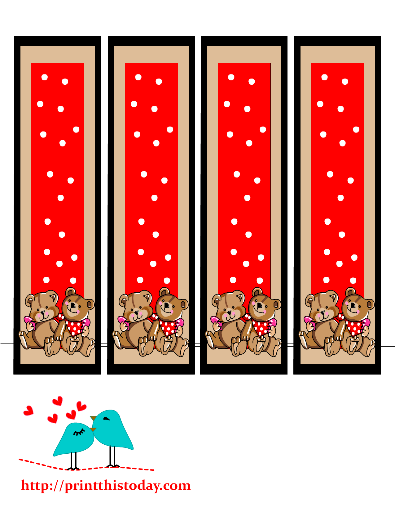 Bookmark drawing couple. Teddy bear bookmarks to