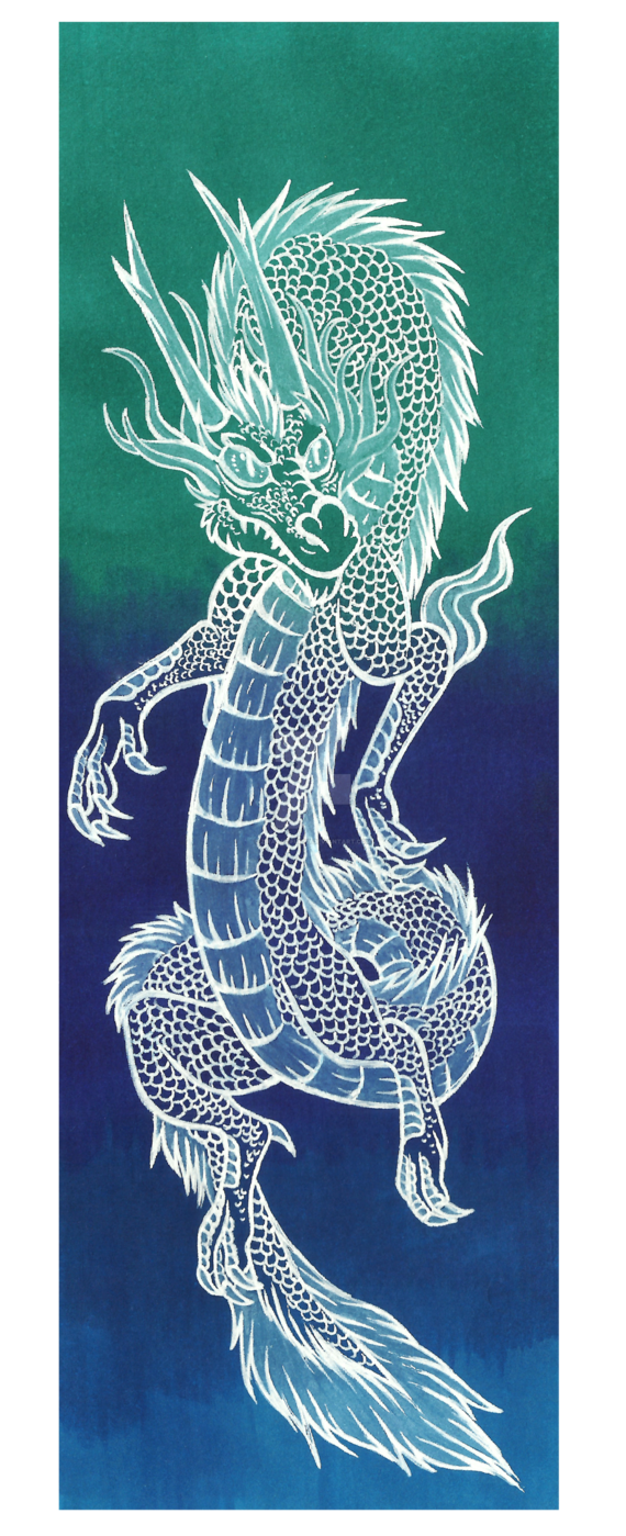 Bookmark drawing dragon. Blue chinese by avafury
