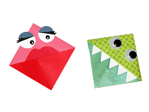 Bookmark drawing printable. Origami monster bookmarks rr