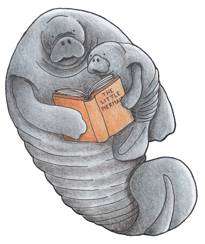 Bookmark drawing sketch. Manatee by absol g