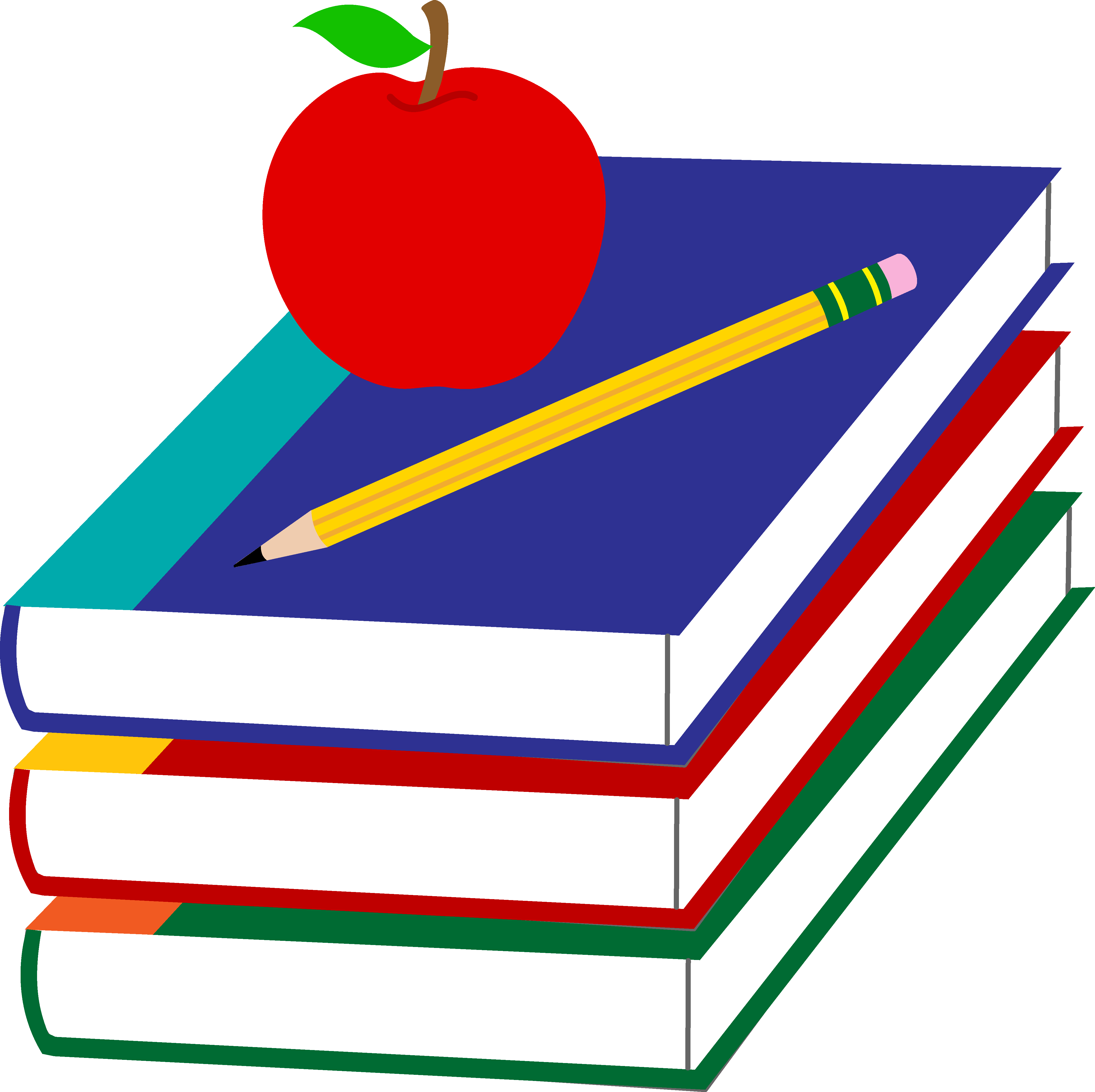 Books and apples png. Collection of pencil