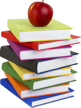Stack of school books png. Apple and book transparent