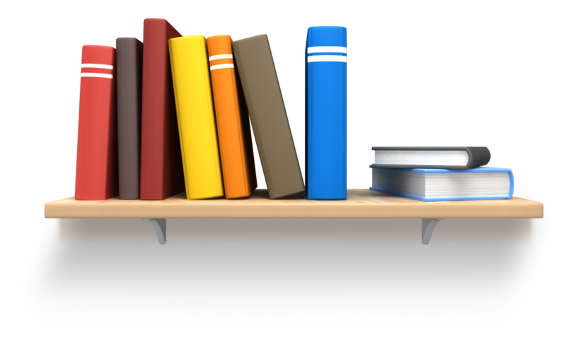 Books on shelf png. Bookshelf with picture of